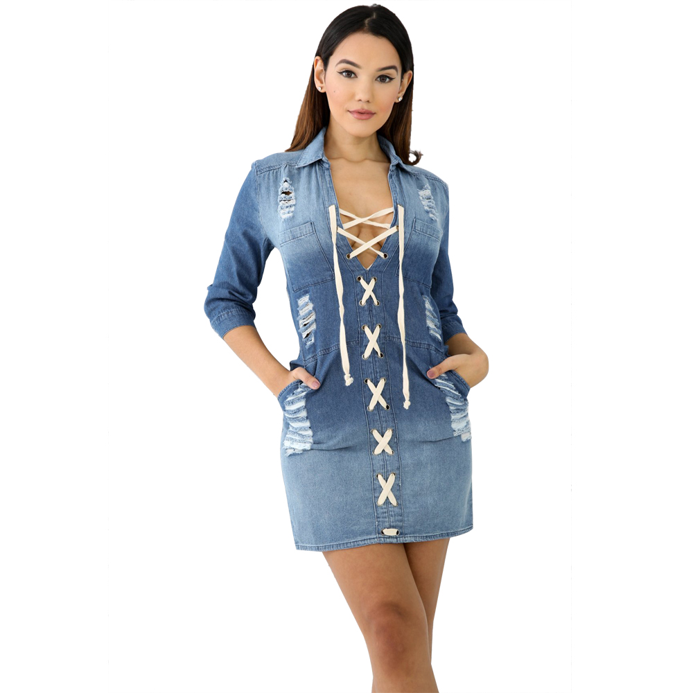 Guyunyi 2019 Spring Women Casual Denim Dresses Draped Elegant Cowboy Fashion Ruffled Neck Feminino Lady Slim Dress Cx1182 Women's Clothing