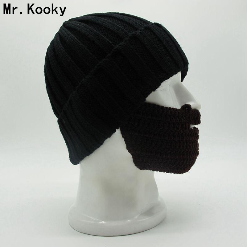 Mr. Kooky Neue Neuheit herren frauen Coole Lustige Winter Warm Knit Bördeln Mützen Gesichtsmaske Bart Hut weihnachten Gag Gorros Geschenke