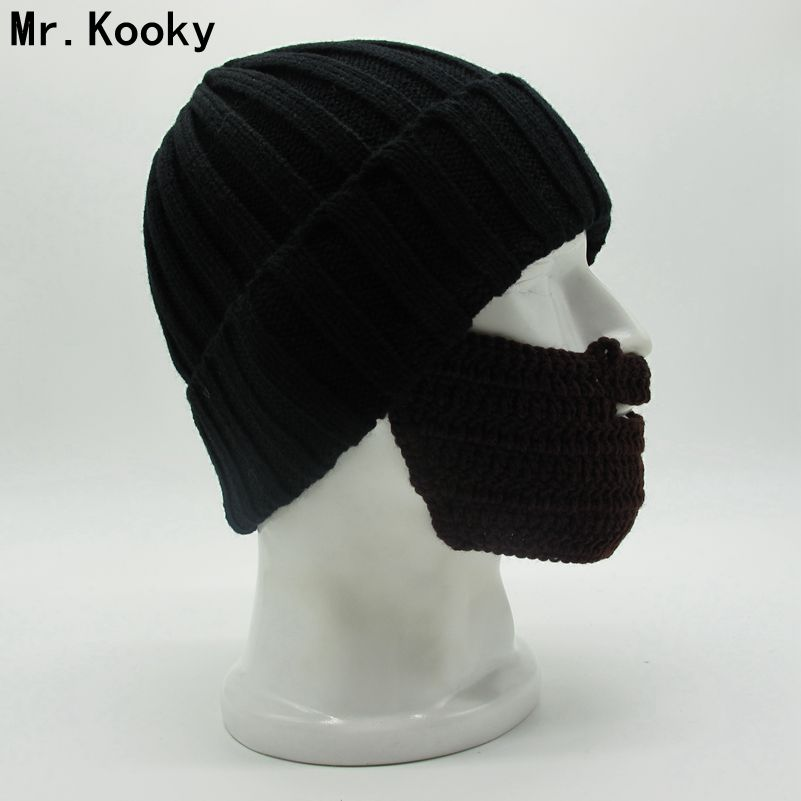 Mr.Kooky New Novelty Men's Women's Cool Funny Winter Warm Knit Flanging Beanies Face Mask Beard Hat Christmas Gag Gorros Gifts