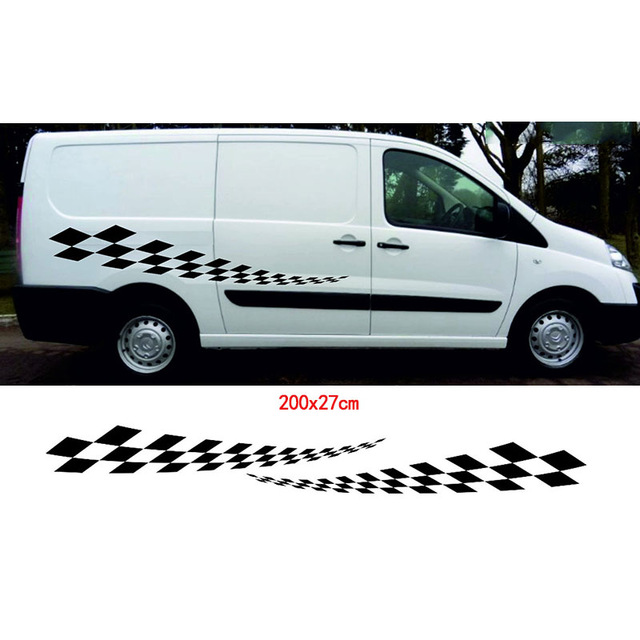 Initiative Automobile Innovate 2pcs Car Styling For Fiat Scudo Checker Steipes Decals Swb And Winyl Moto Camper Granhics Car Styling Exterior Accessories