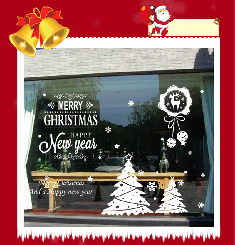 50x70cm 2019 Merry Christmas Decorations for Home New Year Shop Glass Window White Deers Bell Decorative Stickers Navidad Natal  (10)
