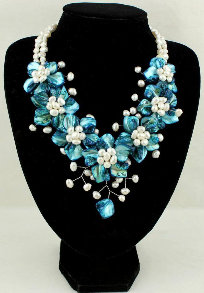 45cm new blue MOP shell FW pearl flower necklace