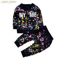 אלווה ZUVA חדש אביב בגדי ילדי סטי מעיל + מכנסיים בני תינוק פעוט בנות הסוואה חליפה ספורטיבית ילדי אימונית Cyy054