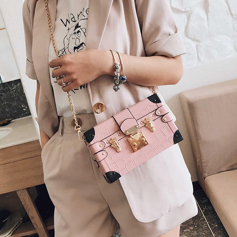 Mode pierre métal coin boucle femmes boîte Style Pary pochette sac à bandoulière sac à bandoulière dames Designer sac chaîne sac à main