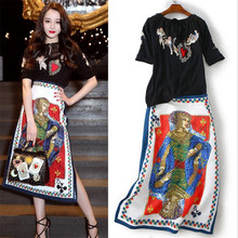Outfits Top-Skirts-Set Blouse Short-Sleeve Casual Women Summer Hot Chiffon 2 Embroidery