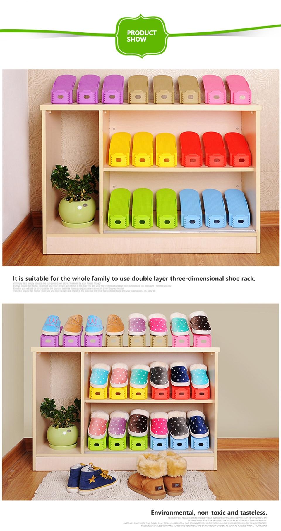 1pc Shoes Organizers Display Rack Shoes Organizer Plastic Space Saving Shoe Storage Shoe Racks Double Cleaning Storage_05