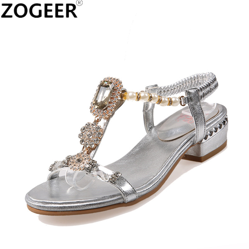 Big Size 43 New 2018 Summer Women Sandals Luxury Rhinestone String Bead Shoes Woman Casual Low Heels Party Sandals Gold Silver meotina shoes women sandals rhinestone sandals luxury shoes 2018 beading summer sandals chunky low heels gold wedding shoes