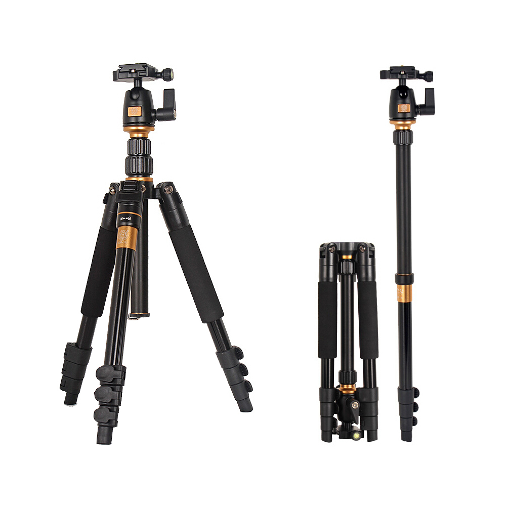 New Version Q555 Professional Aluminum Magnesium Alloy Portable Foldable Tripod Kit For SLR Camera / Can Be Changed To Monopod new sys700 aluminum professional tripod