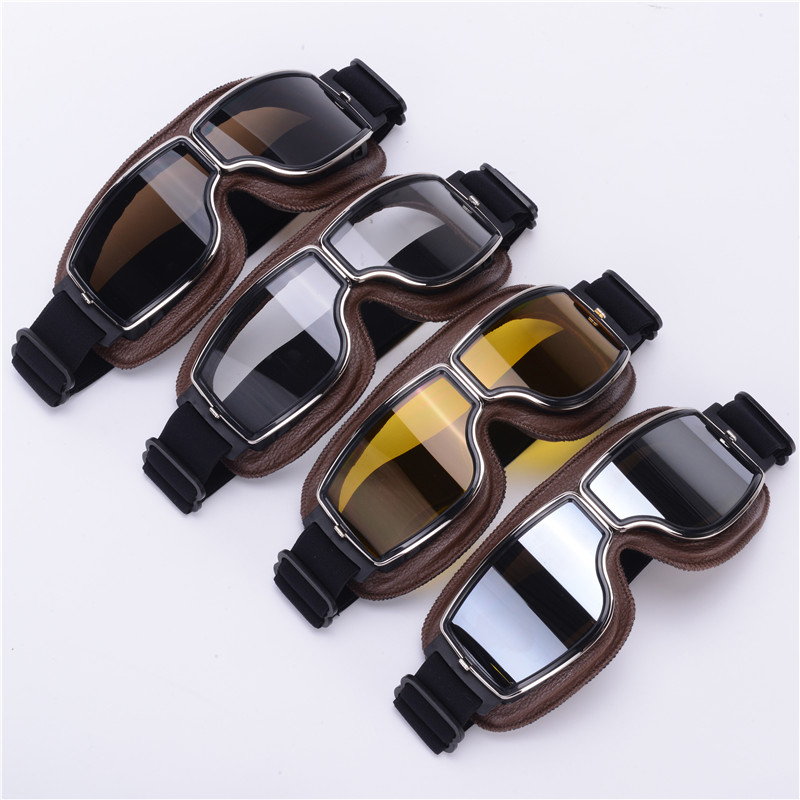 2018 Newest Harley-Style Leather Goggles Vintage Motorcycle Goggles Vintage Motorcycle Goggles Retro Jet Helmet Glasses 2018 newest harley style leather goggles vintage motorcycle goggles vintage motorcycle goggles retro jet helmet glasses