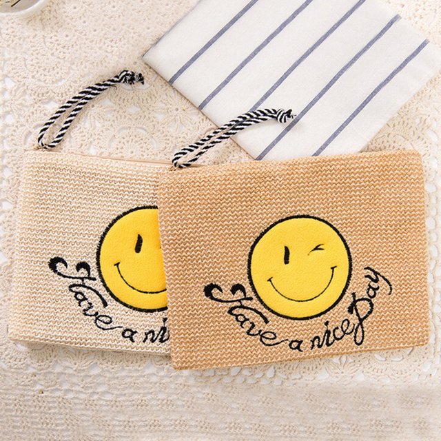 Women Summer Straw Weave Clutches Handbags Las Crossbody Knitting Smiley Bags Envelope Holidays Beach Bag Designer