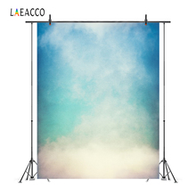 Laeacco Blue Sky Clouds Gradient Solid Colors Portrait Photography Backgrounds Customized Backdrops For Photo Studio