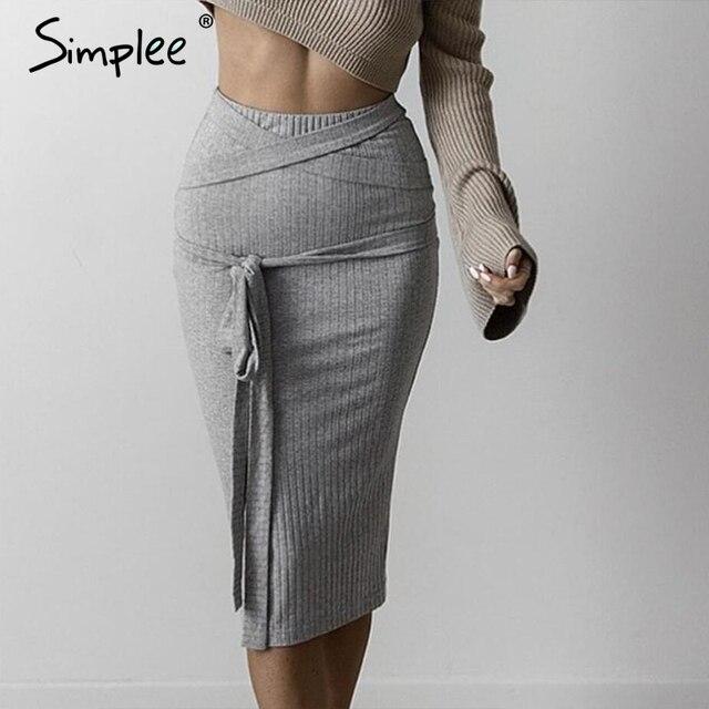 Simplee Все Матч высокой талией юбка-карандаш 2016 осень серый женщин трикотажные юбки Сексуальная упругой bodycon юбка ткань ленты ремня