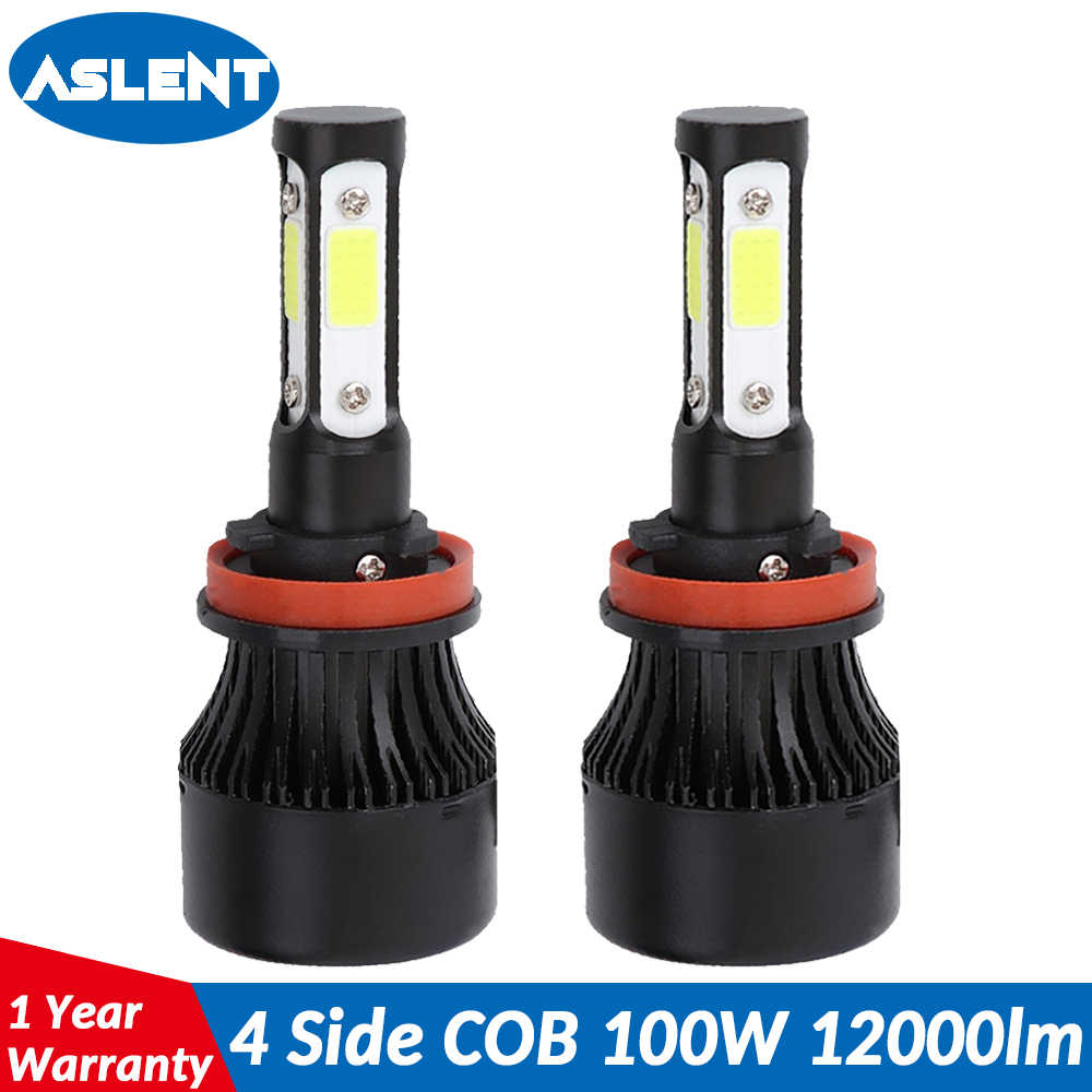 Aslent 4 Side Lumens COB 100W 12000lm LED Bulb H4 H7 H11 H13 HB3 9005 HB4 9006 9004 9007 Car Headlight Auto Headlamp Light 12v