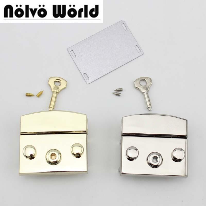 20pcs Light gold Silver Color 50X50mm handbags bags metal key lock replacement Bags Handbags New Closured