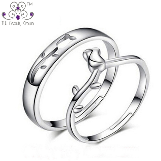 High Quality Real 925 Pure Silver Unique Rose Flower Design Wedding Engagement Rings Jewelry For Men Women GQL008