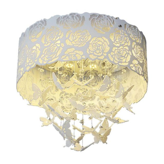 White Rose Led Crystal Ceiling Lamps Plastic Erfly Round Hollow Out Child Room Baby Bedroom Living Light