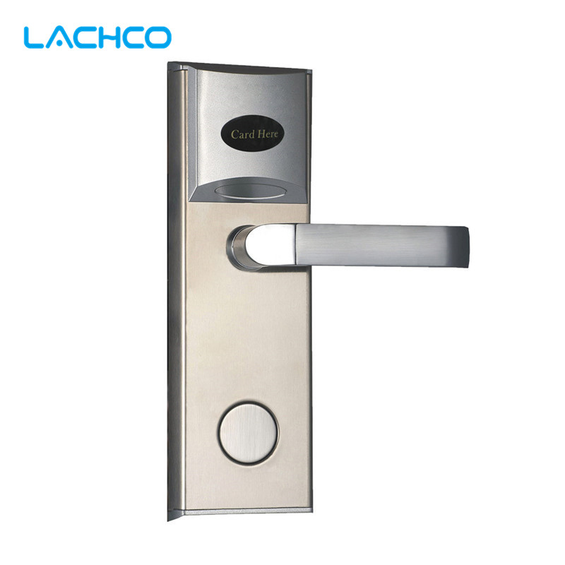 LACHCO Digital RFID Card Lock Electronic Door Lock with Key for Hotel Apartment Home Office Room Latch with Deadbolt L16038BS lachco card hotel lock digital smart electronic rfid card for office apartment hotel room home latch with deadbolt l16058bs