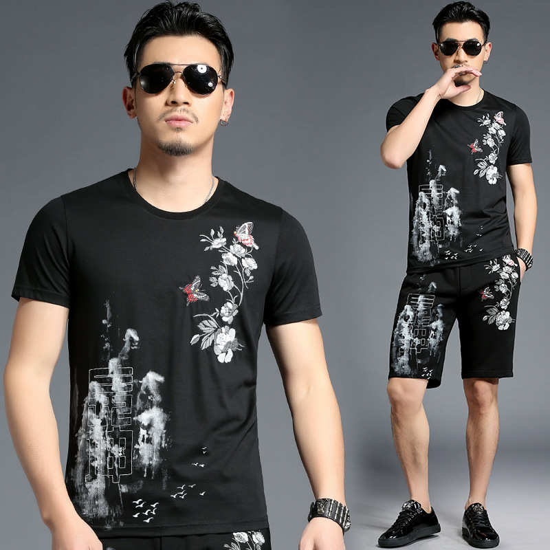 Chinese style embroidery butterfly flower pattern t shirt&shorts set Summer 2018 New fashion quality cotton tracksuit men M-4XL