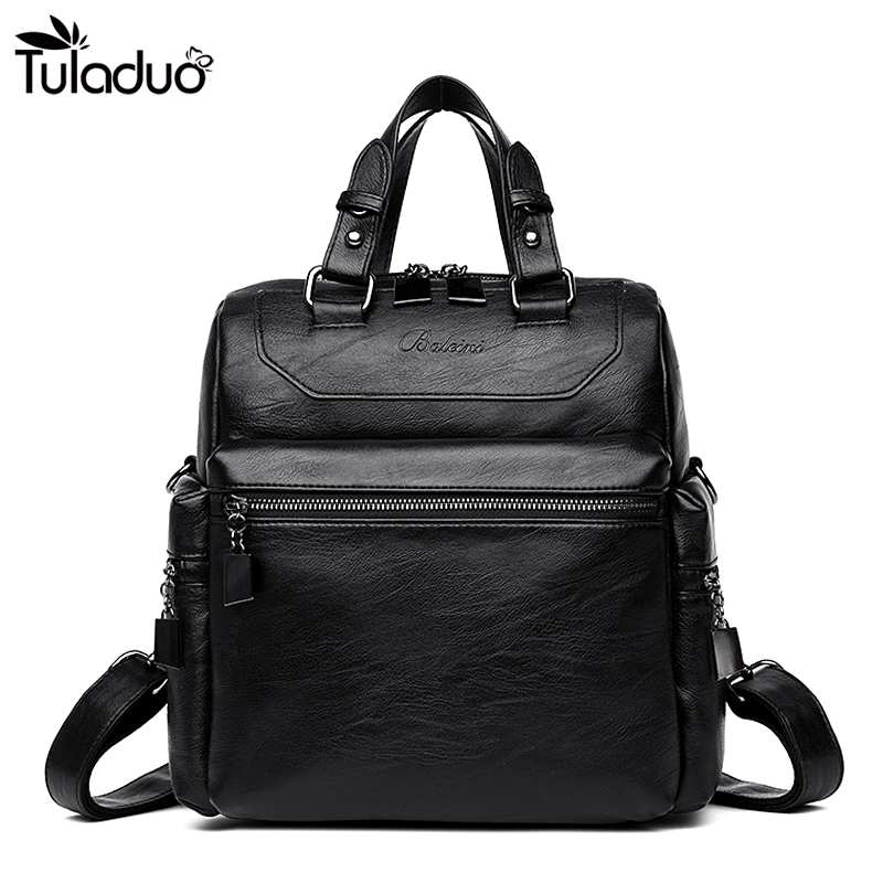 Women Black Square Leather Backpack With Solid Pockets Shoulders Travel Bag Fashion Soft Back School Bags For Teens Girls mujer women backpack fashion pvc faux leather turtle backpack leather bag women traveling antitheft backpack black white free shipping
