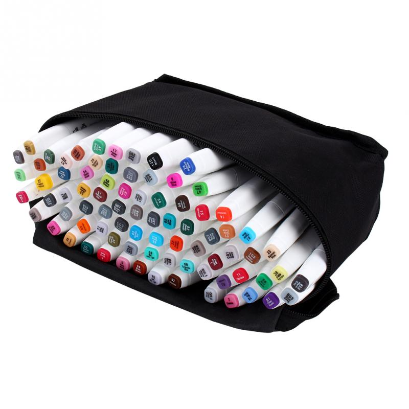 80Pcs Dual Tips Brush Art Sketch Marker Pen Set for Animation Design Highlighting