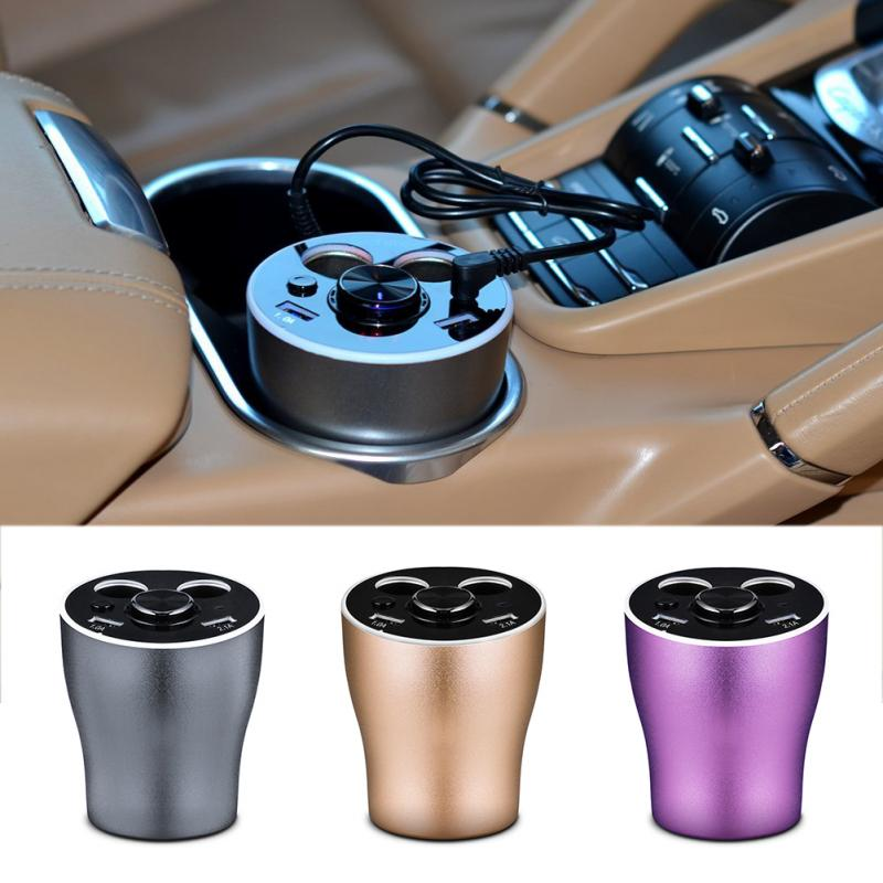 Multifunctional Automobile Supplies Bluetooth Dual USB Charger Double Frequency Electric Voltage Display Lighter Hole Expansion
