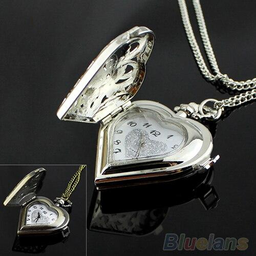 Горячие Продажи Полые Форме Сердца Часы Кулон Ожерелье Цепь Женщины