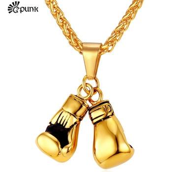 Doble puño guantes de boxeo Collar para Hombres estilo hiphop oro amarillo 316L de cadena de acero inoxidable de la joyería de los hombres P2171G