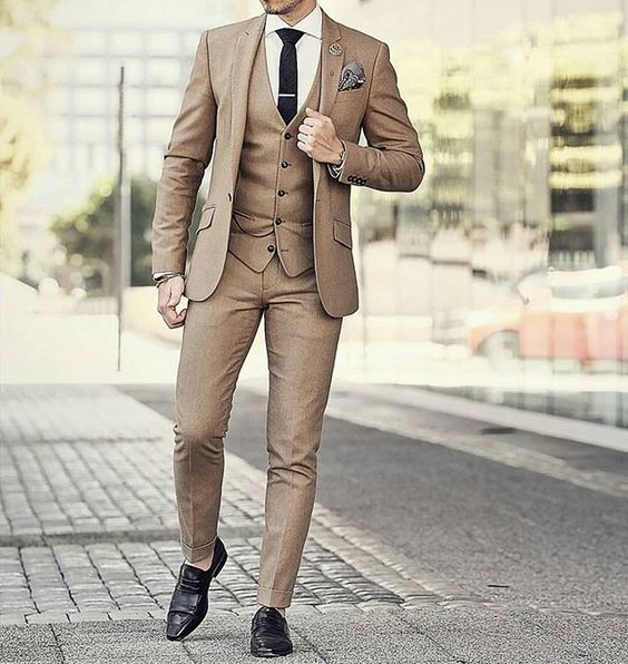 Latest Coat Pant Designs Khaki Brown Wedding Men Suit Slim