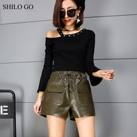 SHILO GO Leather Shorts Womens Autumn Fashion sheepskin genuine leather Shorts stretch adjustable high waist front pocket shorts