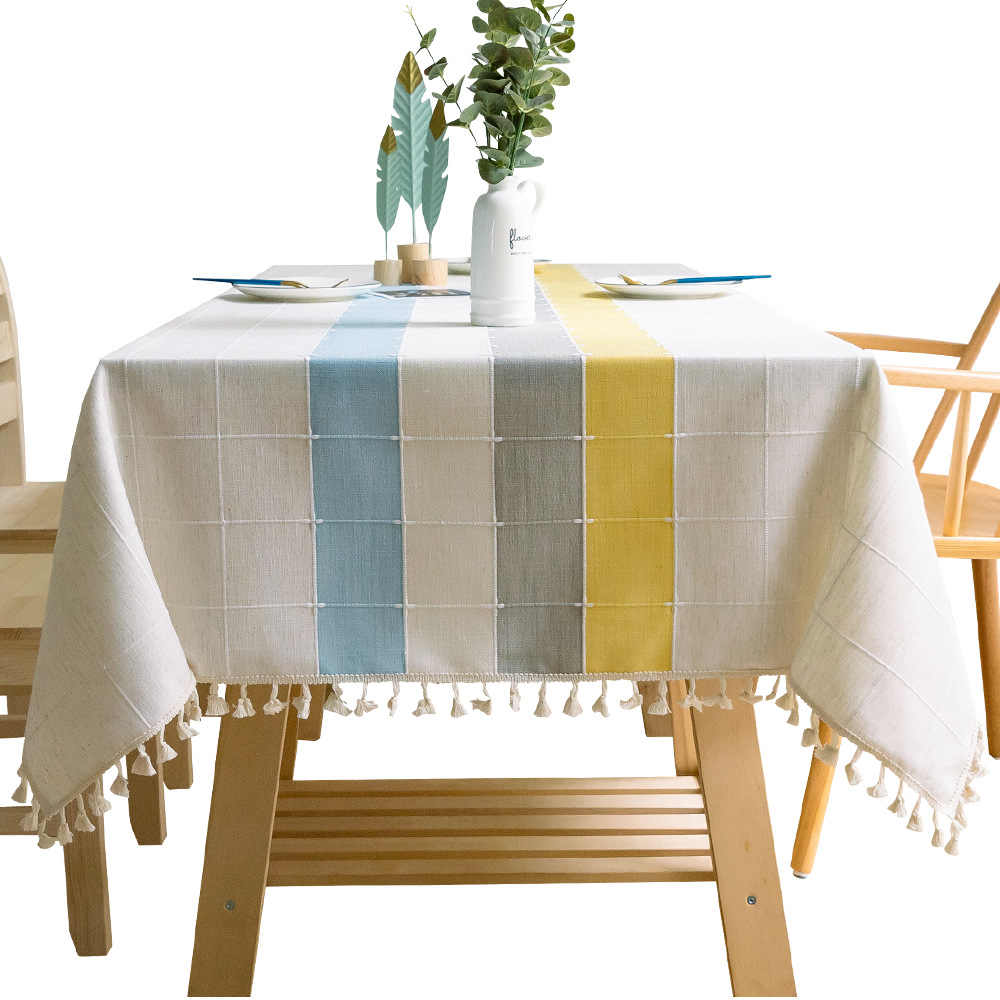 Modern Simple Christmas Tablecloth Yellow Plaid Woven Striped Stitching Table Cloth Lace Pendant Decor Rectangular Table Cover