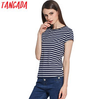 Tangada Woman T-shirts Striped Autumn Fashion O-Neck Short Sleeve Black White Navy T shirt For Women Casual Brand Tops KG7