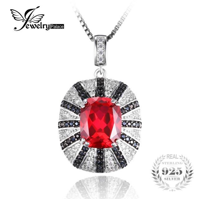 Jewelrypalace luxo 6ct criado red ruby natural espinélio preto fino sólido 925 sterling silver pendant não inclui uma cadeia