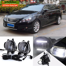eeMrke For Toyota Reiz Mark X 2009 + 2 in 1 Double Led Guiding DRL Fog Lights Lamp With Q5 Lens Daytime Running Lights