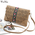 Winmax embroidery style hollow out  women leather messenger bag small flap girls small crossbody bag shoulder bag hot sale