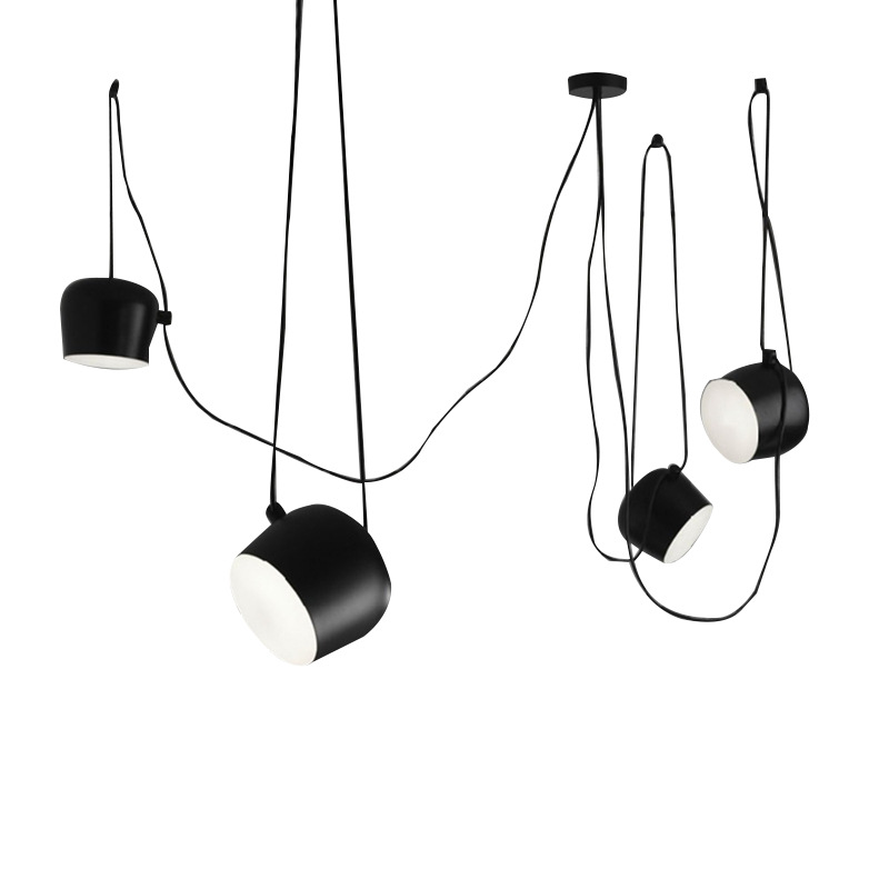American Industrial Aluminium Spider Pendant Lamp With Acrylic Black White LED Hanging Ceiling Lamps Office Cafe Bar Decor