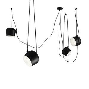 Image 2 - Amerikan endüstriyel alüminyum örümcek kolye lamba akrilik siyah beyaz LED tavanda asılı lambaları ofis Cafe Bar dekor