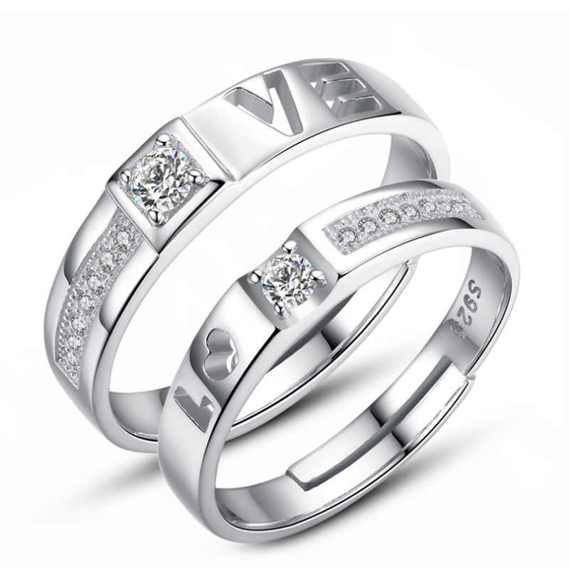 21ab309c40 ... sterling silver romantic love letter crystal lovers`couple rings  jewelry no fade female men`s finger open ring cheap on Aliexpress.com |  alibaba group