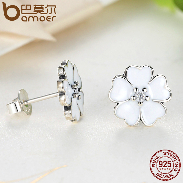 Sterling Silver Primrose Flower White Enamel Jewelry Set