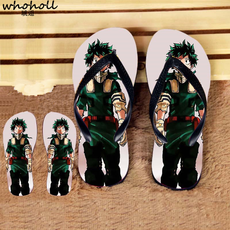 Flip Flops Shoes Liberal Whoholl Summer Beach Slippers Man Anime My Hero Academia Print Eva Shoes Anti-skid Bath Male Shoes Flip-flops Sandals Homme