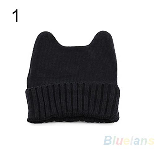 Hot Sale Fashion Soft Cute Women Girl Warm Winter Cat Ear Shape Knitted Hat Elastic Beanie Cap Christmas Gift 02HK 453C 7FC5