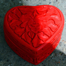 Exquisite Chinese Flower Red Cinnabar Lacquer Beautiful Auspicious Heart-shape Jewelry Box