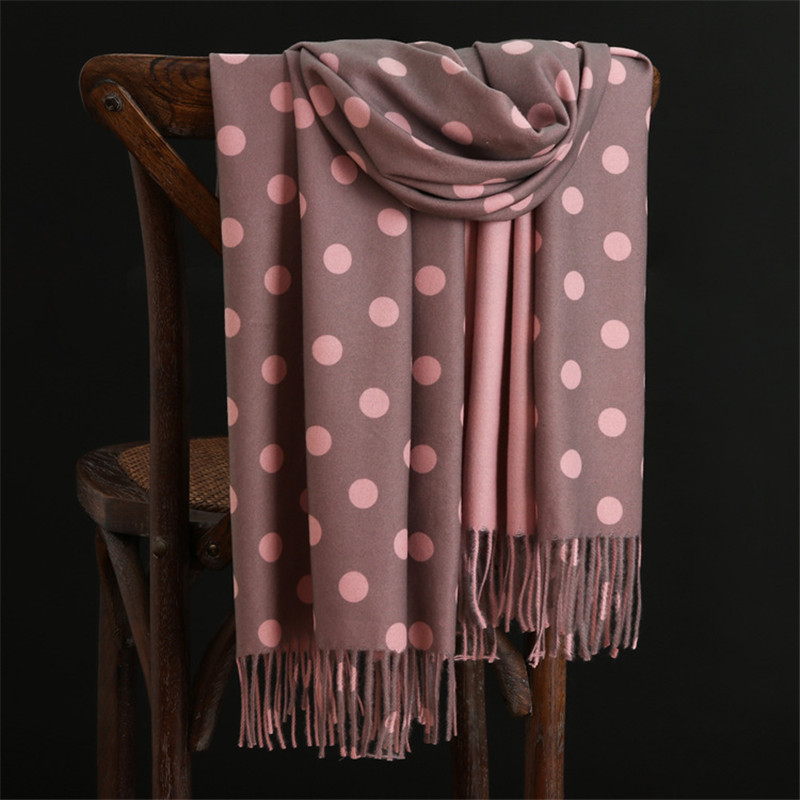 RUNMEIFA Luxury Brand 2019 New Winter Warm Cashmere Scarves Dot Pattern High Quality Long Tassels Women Thicken Wraps And Shawls