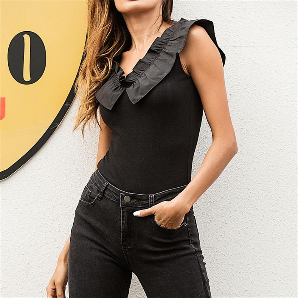 2018 women bodysuits summer black V-neck sexy tops Ruffles tank tops slim sexy bodysuit sleeveless women tank top body feminino