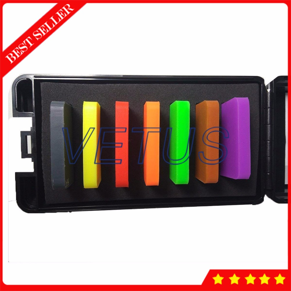 A Type Plastics Hardness Test Block Hard Rubber Durometer Test Block with 7 Color Test Block Kit asymmetrical drawstring color block hoodie