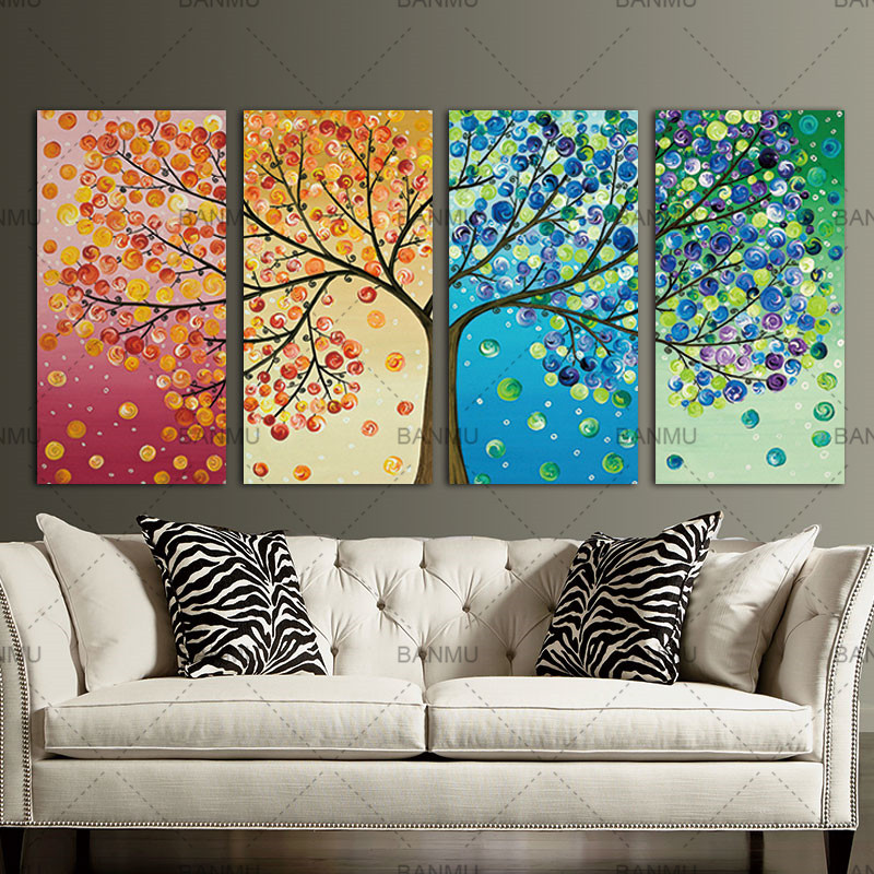 Unframe Wall Art Canvas Painting Decoration For Living Room Picture  Colourful Leaf Trees Wall Art Spray Wall Painting Home  In Painting U0026  Calligraphy From ... Part 41