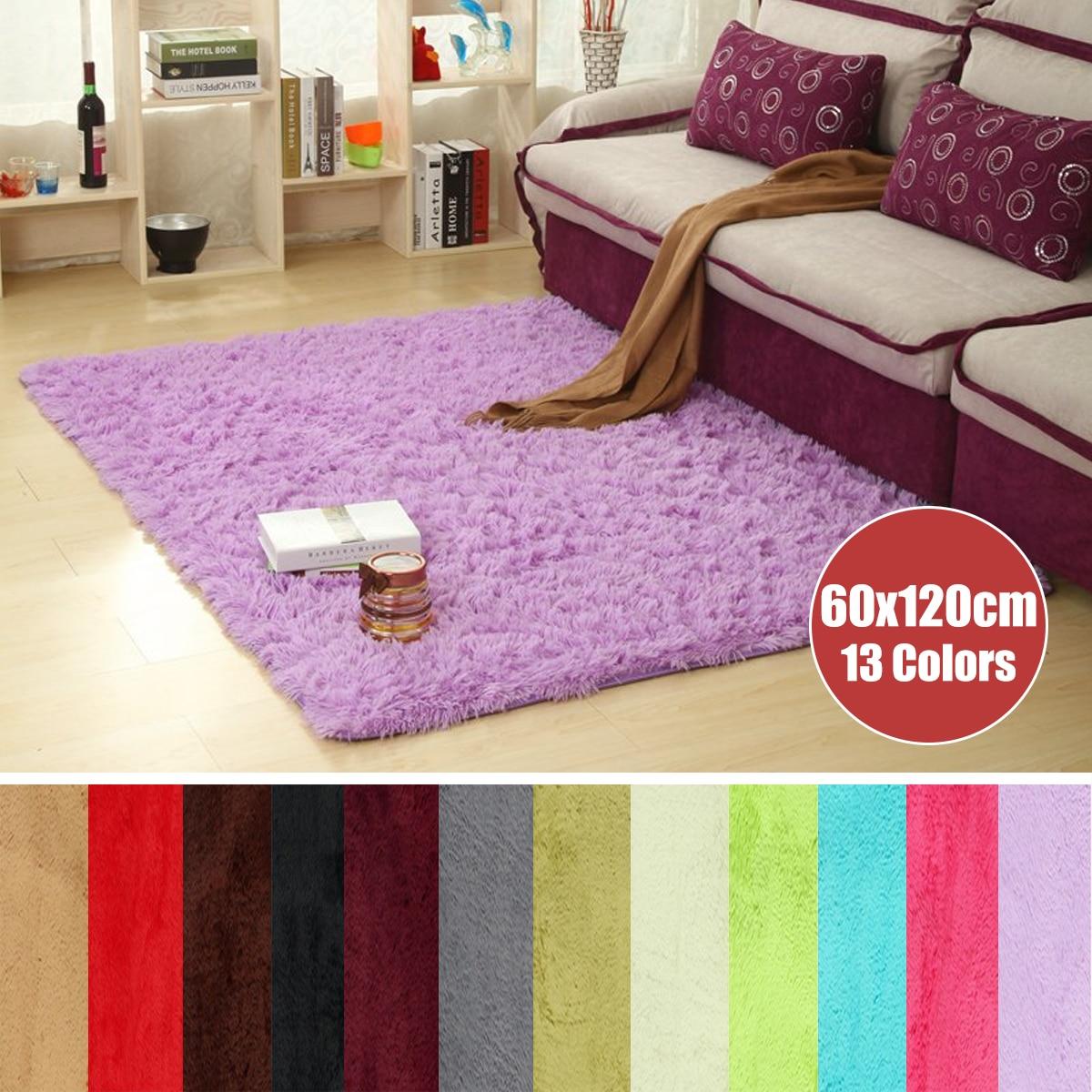 60x120cm Anti Slip Shaggy Fluffy Area Rug Bath Mat Bathroom Door Horizontal Stripes Rug Bedroom Carpet Floor Mat 13 Colors