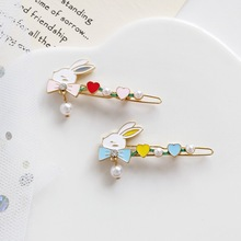 1pcs Lovely Women Girls Rabbit Hair Clip Pearl Hairgrip Pin Metal Fashion Jewelry Hair Accessories Headdress Gift Dropshipping