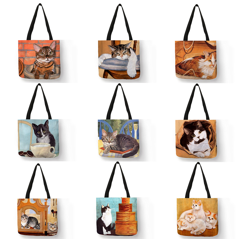 Eco Linen Reusable Shopping Bag With Oil Cat Painting Women Fashion Tote Bag Handbags Student Travel School Bags