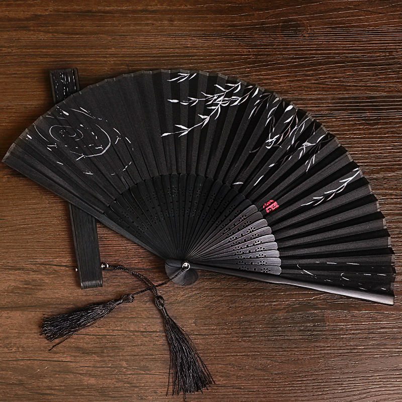 Summer Folding Fan Bamboo Silk Fan Dance Party Flower Printing  High Quality Home Decoration Crafts 38