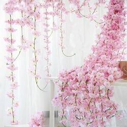 200 centímetros Sakura Cereja Arco Do Casamento decoração flores Artificiais Videira Rattan festa Em Casa decoração da parede Pendurado Guirlanda Guirlanda de Hera De Seda